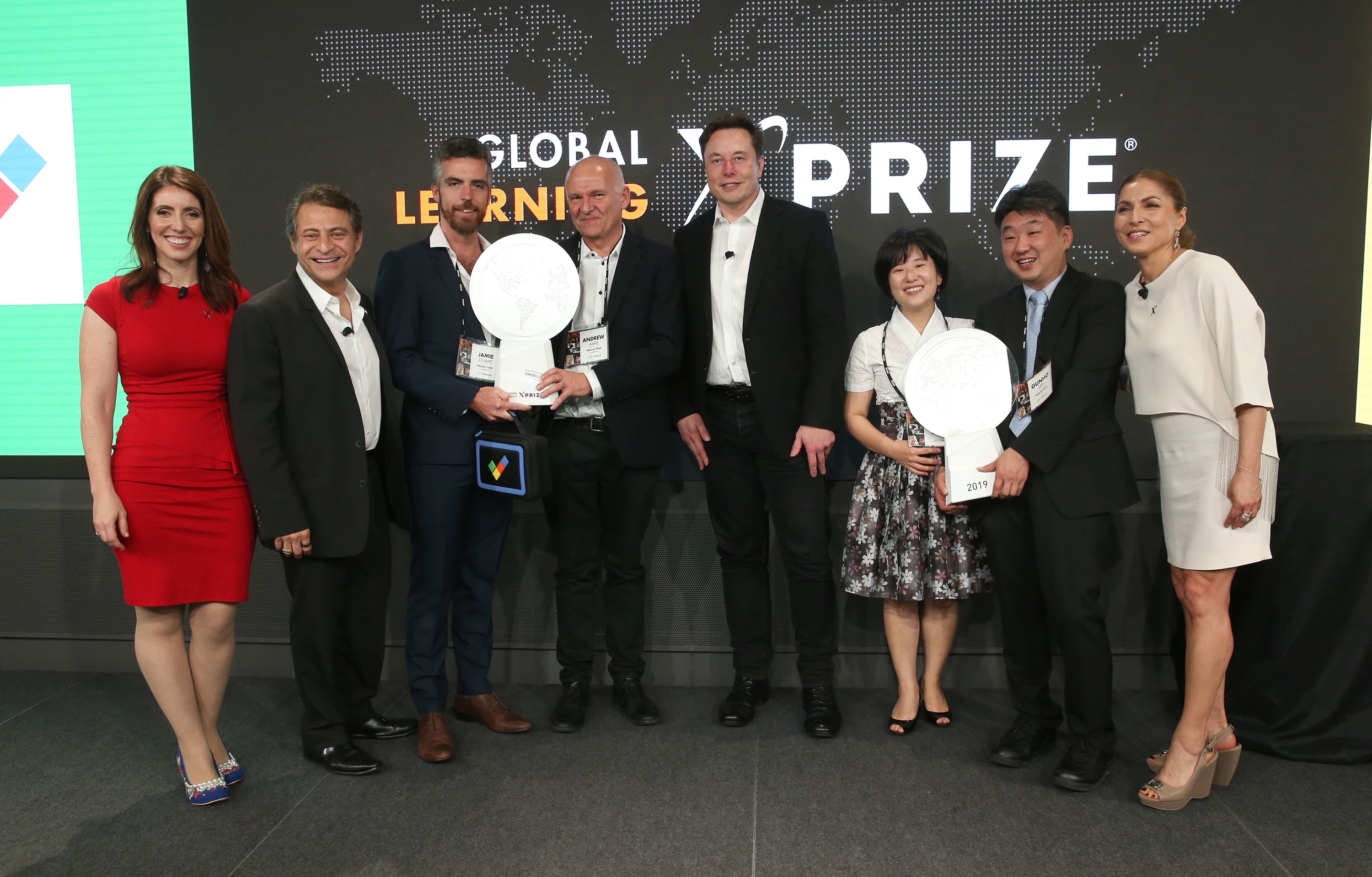 X-Prize CEO applaudes TVP during the Global Education Xprize awards ceremony hosted at the Google's offices in Los Angeles, USA.